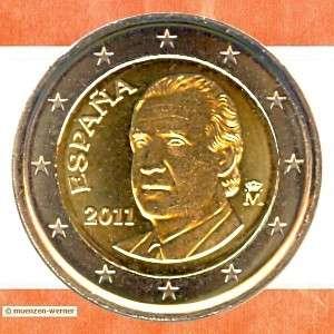 Münzen Spanien 2 Euro Münze 2011 Kursmünze Juan Carlos