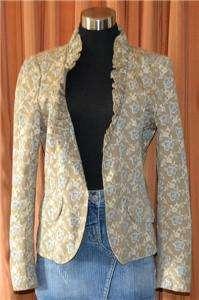 BANANA REPUBLIC BROWN BLUE WHITE COTTON FLORAL PRINT BLAZER JACKET