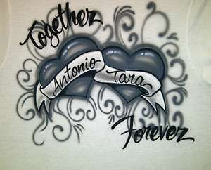 Couples Names T Shirt Airbrush Hearts sz S M L XL Shirt Airbrushed