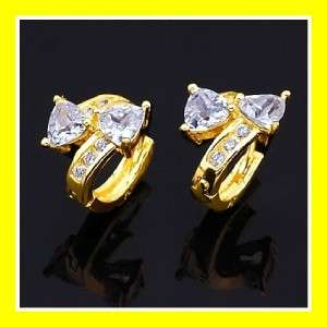 New 18k gold tone 3 colored CZ rhinestone crystal earrings E78