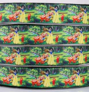 Princess Snow White Printed grosgrain ribbon BOW 5/50/100 yards