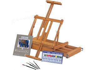 Top Art Artist Easel Paint Set Kit  Brushes & Watercolor Pad
