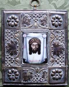 Antique Russian Icon   Hand Painted Enamel  c1800  CHRIST   NOT MADE