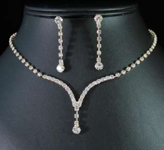 ELEGANT AUSTRIAN RHINESTONE CRYSTAL NECKLACE EARRINGS SET BRIDAL N1277
