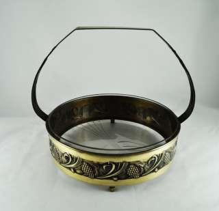 Art deco Nouveau DIsh Sell Glass Fruit Basket Schale alt Glaseinsatz