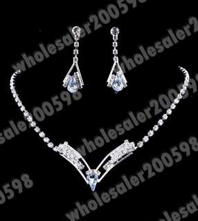 12sets 12styles Rhinestone Crystal Necklaces+Earrings