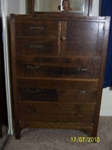 Antique Arts Crafts Mission Oak Dresser w Mirror MAKER