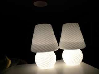 ERA PAIR OF MURANO VETRI VENINI MUSHROOM SHAPE ART GLASS LAMPS