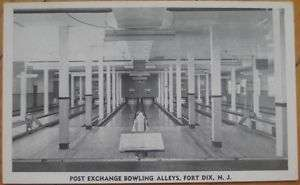 1940 PC: Post Ex. Bowling Alley Interior   Fort Dix, NJ