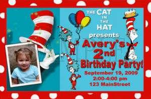Custom Cat in the Hat Birthday Party Photo Invitations