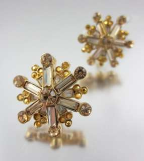 NEW ST. JOHN Gold Tone Burst Rhinestone Earrings $145