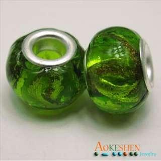 green foil Murano lampwork Glass european charm Bead Fit Bracelet free