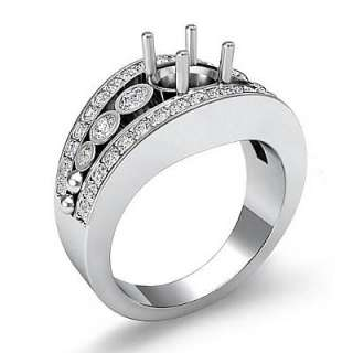 81 Diamond Ring Oval Setting Pave 14k White Gold s7.5 Engagement