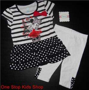 MINNIE MOUSE Girls 12 18 24 Months Set OUTFIT Tunic Shirt Leggings