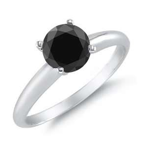 3CT Black Diamond Solitaire Ring 14K White Gold AAA Clarity Sizes 5, 6