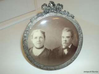 ANTIQUE Celluloid Button Photo of COUPLE in FANCY FRAME