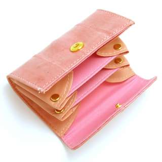 Genuine Eel skin Leather Small Coin Purse Case PINK