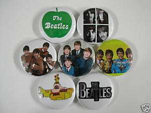 BEATLES 7 PINS BUTTONS BADGE LENNON MCCARTNEY beetle ww