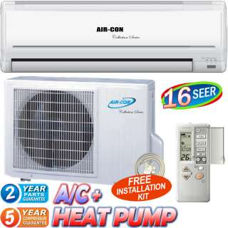 Ton 18000 BTU Ductless Air Conditioner Mini Split Heat Pump 16
