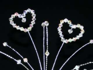 Crystal Ab Heart Cake Topper Decoration Wedding
