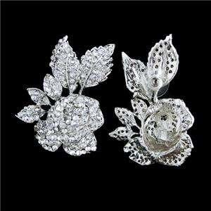 Sexy Rose Flower Necklace Earring Set Swarovski Crystal Clear Wedding