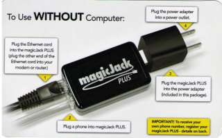 NEW MAGIC JACK PLUS (use with or without computer) 1 YEAR SERVICE Incl