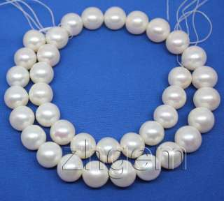 12mm natural white freshwater pearl loose round beads gem 16long