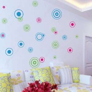 24 colorful circles removable vinyl art wall decals