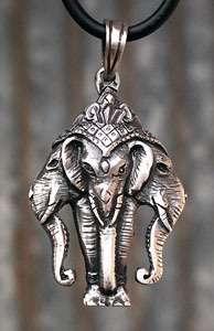Hindu 3 headed elephant Pewter Pendant W Black Necklace