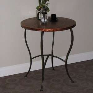Hammered Metal Round Table in Rich Brown Furniture