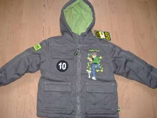 NEW BEN 10 COAT JACKET ALIEN FORCE AGE 3 4 5 6 7 8 9 10