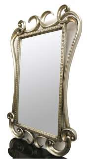 French Contemporary Silver Designer Console Table with Mirror Opulent