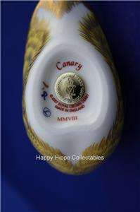 ROYAL CROWN DERBY CANARY MMVIII GOLD STOPPER