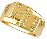 Mens Vegas Dice Gambler 18KT Gold Plated Ring