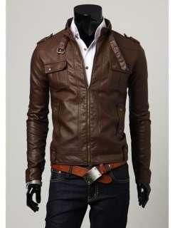 P215 New Mens Slim Fit Faux Leather Jackets Coats Colour Brown,Black