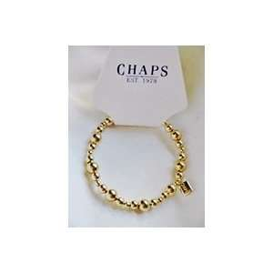 Chaps Gold Tone Beaded Stretch Bracelet