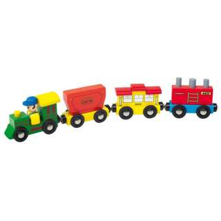 WOODEN TRAIN WITH DRIVER TOY by LEOMARK NEW & BOXED