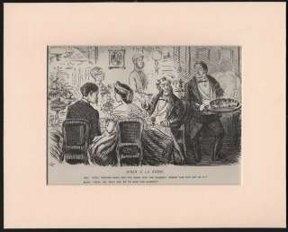 DINNER PARTY   NO SALMON? MOUNTED VINTAGE PUNCH CARTOON