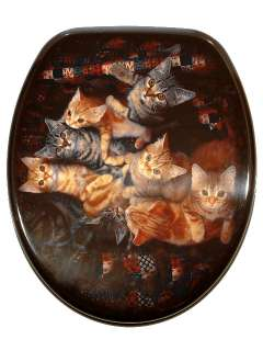 Designer Novelty Printed Toilet Seat  Cats Design Cat