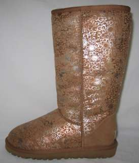 UGG Classic Tall Fancy Boots Chestnut Marbled Logo New UK 3.5 4.5 5.5