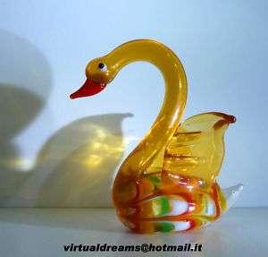 Cigno Vetro Murano Art Glass Venezia Arancione