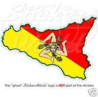 SICILY Sicilian Map Flag ITALY   Vinyl Sticker, Decal