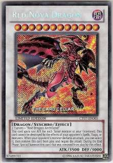 YUGIOH CARD SECRET RARE RED NOVA DRAGON CT07 EN005