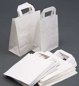 50 White Paper Carrier Takeaway Bags Small 9x7x3.5