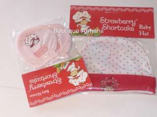 Strawberry Shortcake Baby Hat & Mittens Set RED RARE