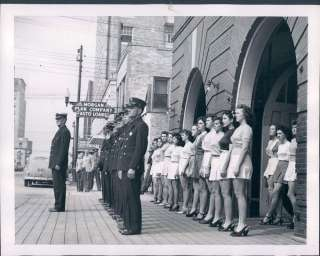 1945 Port Arthur Texas The Women Firefighters Line up Behind the Men