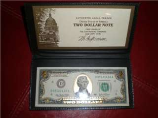 22K Gold $2 Two Dollar Bill Federal Reserve Note