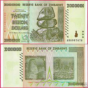 ZIMBABWE BANKNOTE TWENTY BILLION DOLLARS 2008 P86 UNC