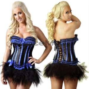 Burlesque Costume blue corset petticoat TUTU skirt 6 16