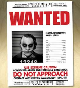 Dark Knight Joker Wanted Poster Movie Prop Replica Print Heath Ledger